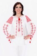 Ie romaneasca Rombulet Rosu bluza traditionala lucrata manual zona Muntenia Mehedinti