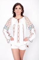 Ie romaneasca Fulg fir rosu si bej bluza traditionala brodata manual zona Banat