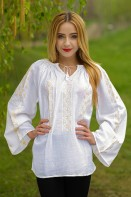 Ie traditionala romaneasca Ambra cusuta cu fir de matase bluza lucrata manual zona Oltenia