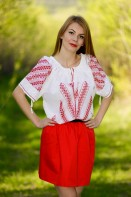 Ie romaneasca Furca brodata manual cu fir rosu bluza traditionala zona Gorj