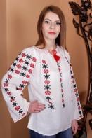 Ie romaneasca Racul bluza traditionala lucrata manual cu fir rosu si negru zona Oltenia