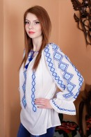 Ie romaneasca maneca lunga Banat bluza traditionala lucrata manual cu fir albastru zona Banat