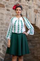 Ie romaneasca maneca lunga Floare de Spanz fir verde bluza traditionala lucrata manual zona Muntenia