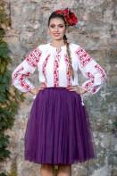 Ie romaneasca Trandafiri Rosii bluza traditionala lucrata manual cu fir rosu zona Oltenia
