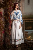 Ie romaneasca maneca lunga Bogatie fir albastru bluza traditionala lucrata manual