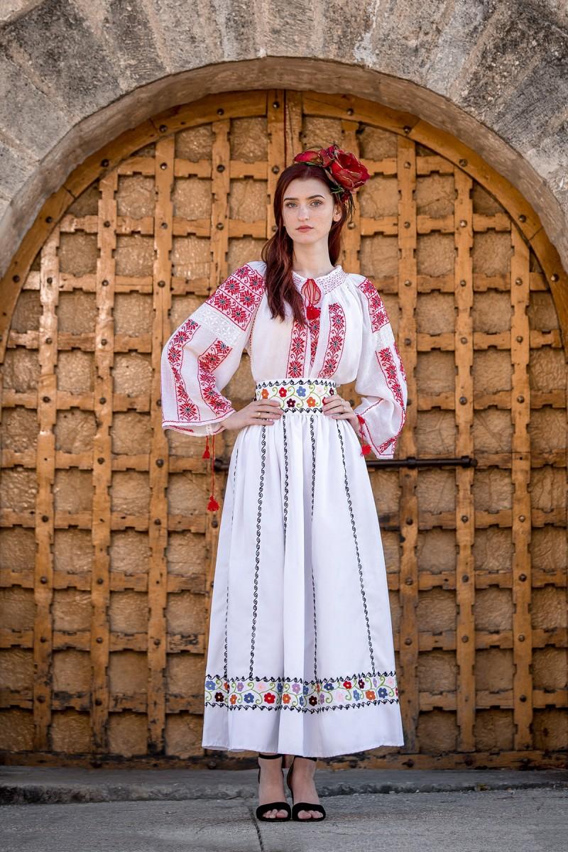 Ie Traditionala Romaneasca Floare de Bujor zona Muntenia