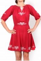 Rochie traditionala stilizata rosie Bianca maneca scurta