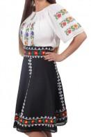 Fusta traditionala model Livioara motive populare stofa neagra cusuta manual