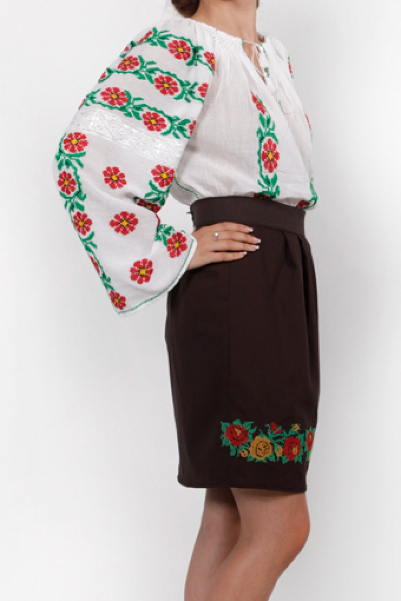 Fusta traditionala model Anca motive populare stilizata bumbac