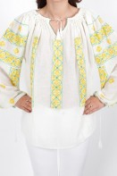 Ie romaneasca de Gorj maneca lunga fir galben si verde cusuta cu sabace bluza traditionala zona Oltenia