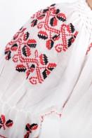 Ie romaneasca maneca scurta Dana fir rosu si negru panza topita bluza lucrata manual