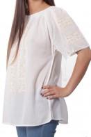 Ie maneca scurta Alina bluza traditionala brodata manual cu fir de matase alb si auriu cu sabace