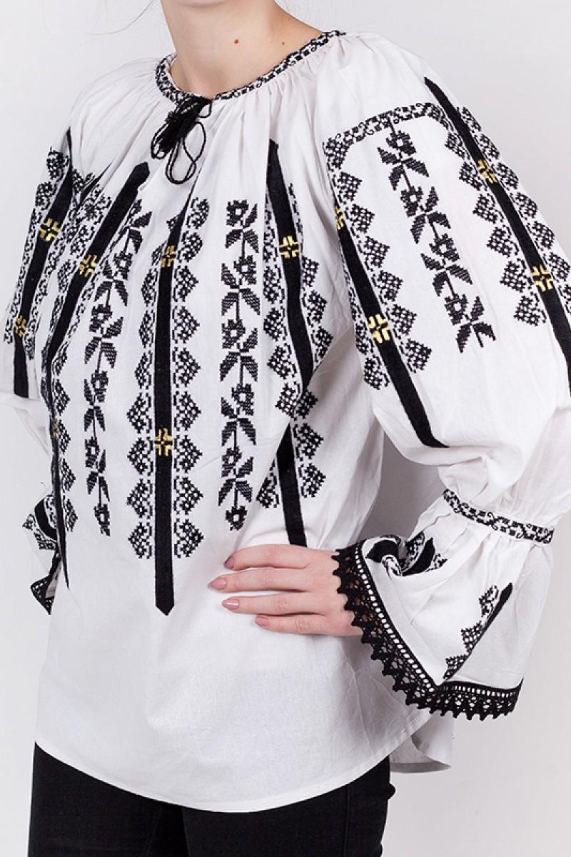 Ie romaneasca maneca lunga Ardealul fir negru panza din bumbac bluza lucrata manual zona Ardeal