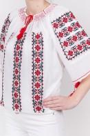 Ie traditionala maneca scurta Abundenta brodata manual cusuta in cruciulita zona Moldova