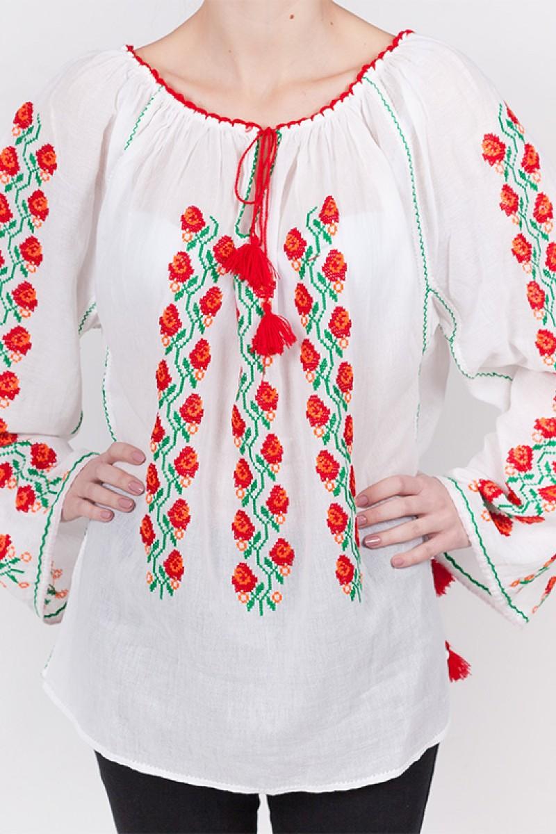 Ie romaneasca maneca lunga Floare de Maces fir rosu verde lucrata manual zona Banat