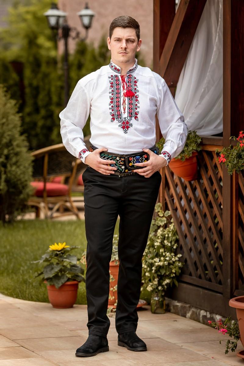 Camasa barbateasca traditionala rombulet rosu