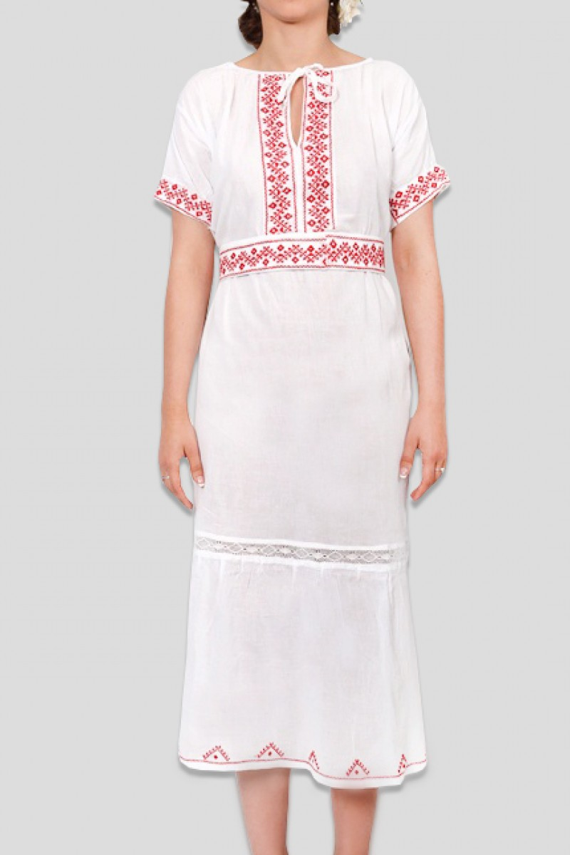 Rochie traditionala maneca scurta Giulia cusuta manual cu rosu